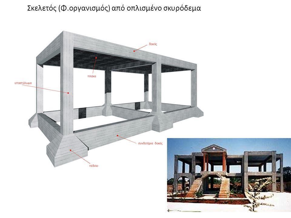 ΦΕΡΟΝΤΑΣ ΟΡΓΑΝΙΣΜΟΣ • Η κατασκευή του σκελετού στα κτίρια από μπετόν γίνεται σύμφωνα με την Στατική Μελέτη του Πολιτικού Μηχανικού • Φέρων οργανισμός ενός κτιρίου, ονομάζεται ο σκελετός που σηκώνει όλα τα φορτία του κτιρίου, τα μεταφέρει στο έδαφος και εξασφαλίζει την έδραση και την αντοχή του.Τα στοιχεία του φέροντα οργανισμού είναι: Oι πλάκες, τα δοκάρια, τα υποστυλώματα, τα θεμέλια).