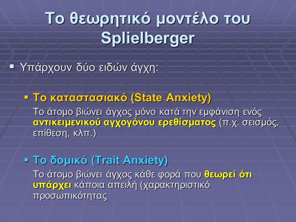 Το θεωρητικό μοντέλο του Splielberger  Υπάρχουν δύο ειδών άγχη:  Το καταστασιακό (State Anxiety) Το άτομο βιώνει άγχος μόνο κατά την εμφάνιση ενός αντικειμενικού αγχογόνου ερεθίσματος (π.χ.