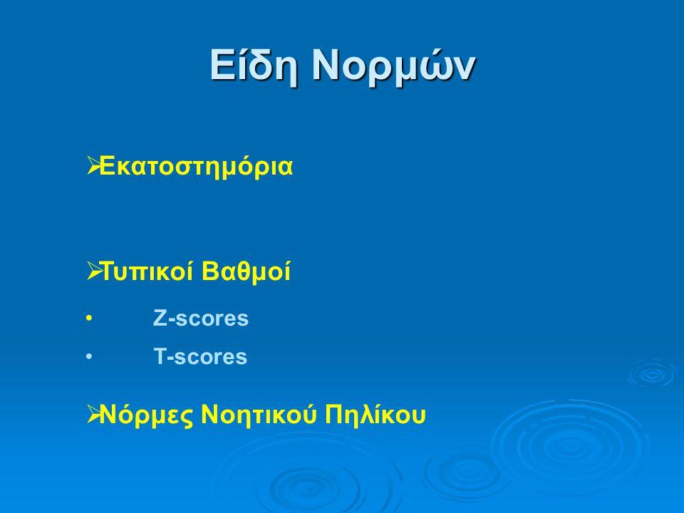 Είδη Νορμών  Εκατοστημόρια  Τυπικοί Βαθμοί •Z-scores •T-scores  Νόρμες Νοητικού Πηλίκου