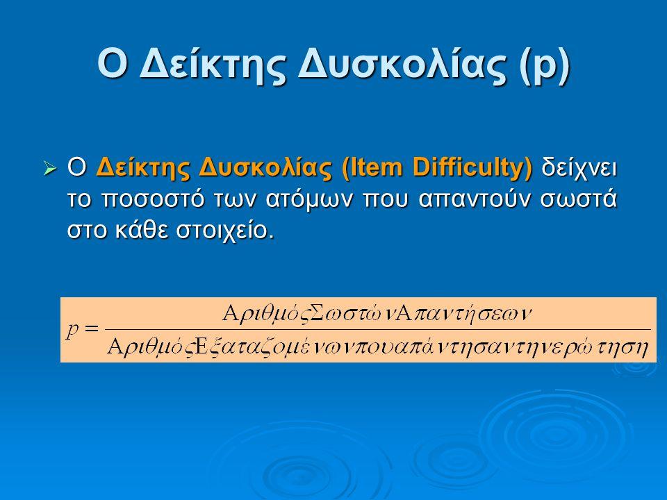 Ο Δείκτης Δυσκολίας (p)  Ο Δείκτης Δυσκολίας (Item Difficulty) δείχνει το ποσοστό των ατόμων που απαντούν σωστά στο κάθε στοιχείο.