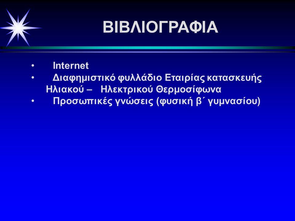 ΒΙΒΛΙΟΓΡΑΦΙΑ • Internet • Διαφημιστικό φυλλάδιο Εταιρίας κατασκευής Ηλιακού – Ηλεκτρικού Θερμοσίφωνα • Προσωπικές γνώσεις (φυσική β΄ γυμνασίου)