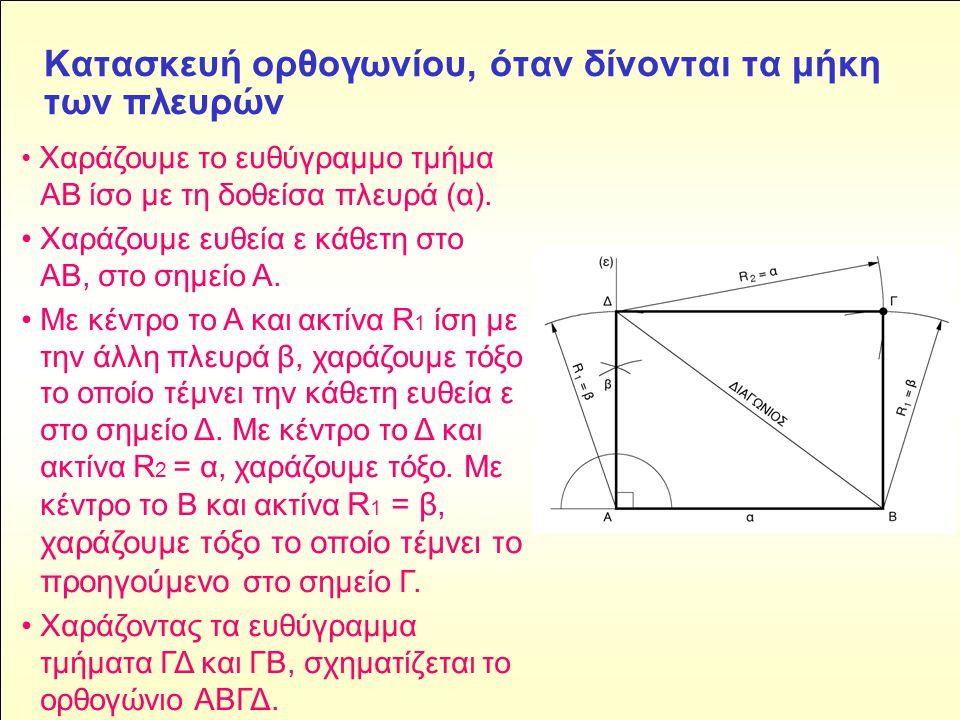 Kατασκευή ορθογωνίου, όταν δίνονται τα μήκη των πλευρών • Χαράζουμε το ευθύγραμμο τμήμα ΑΒ ίσο με τη δοθείσα πλευρά (α).