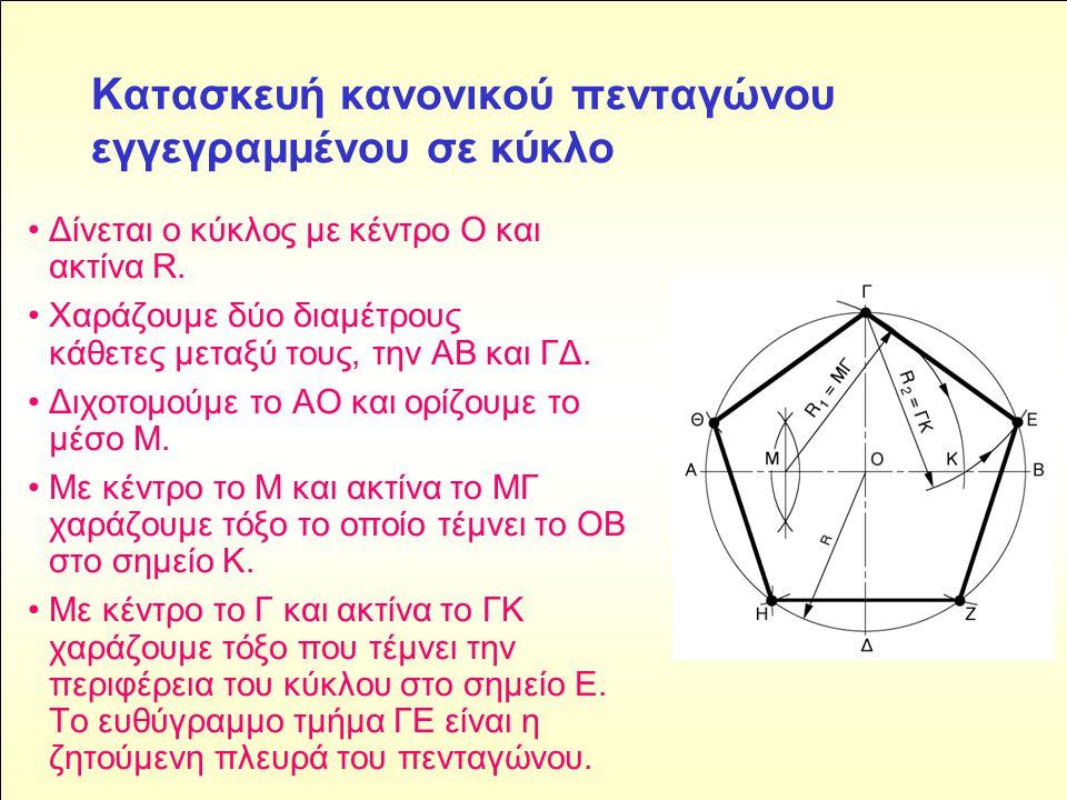 Κατασκευή κανονικού πενταγώνου εγγεγραμμένου σε κύκλο • Δίνεται ο κύκλος με κέντρο Ο και ακτίνα R.