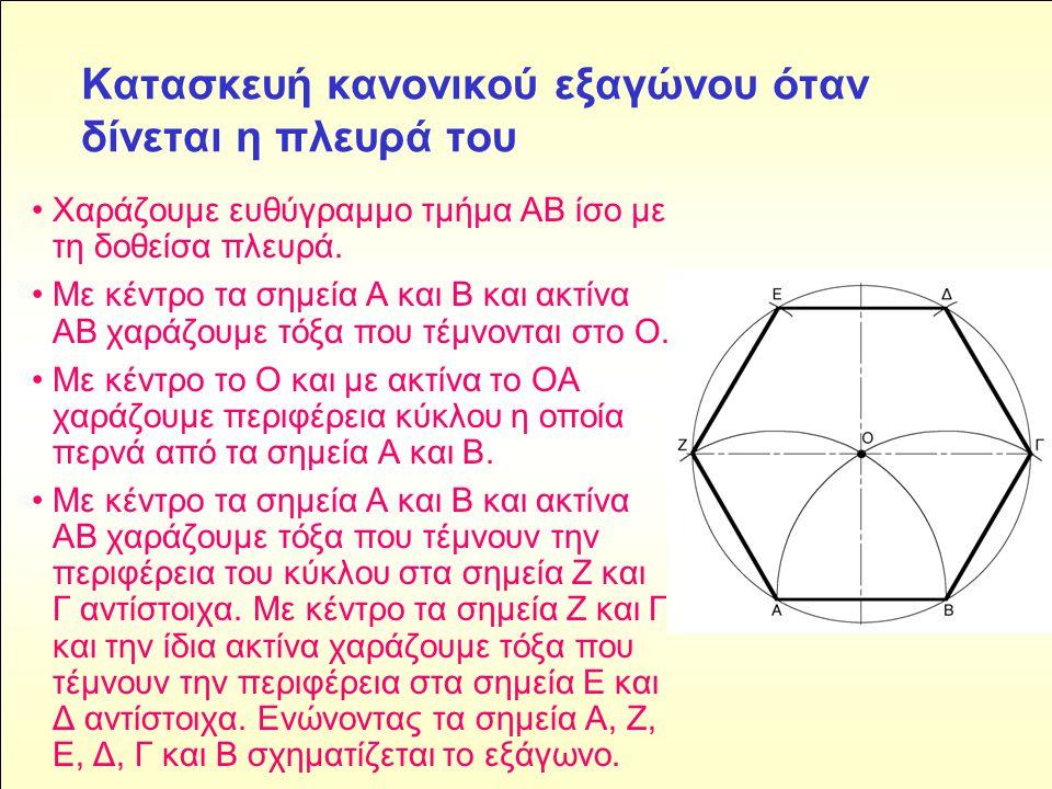 Κατασκευή κανονικού εξαγώνου όταν δίνεται η πλευρά του • Χαράζουμε ευθύγραμμο τμήμα ΑΒ ίσο με τη δοθείσα πλευρά.