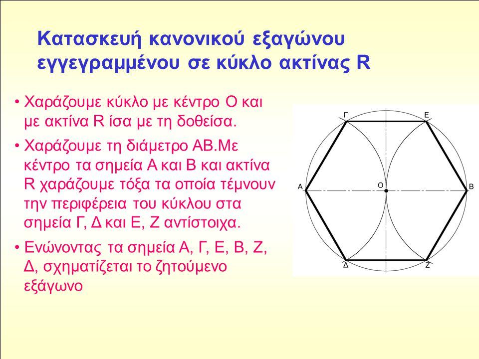 Κατασκευή κανονικού εξαγώνου εγγεγραμμένου σε κύκλο ακτίνας R • Χαράζουμε κύκλο με κέντρο Ο και με ακτίνα R ίσα με τη δοθείσα.