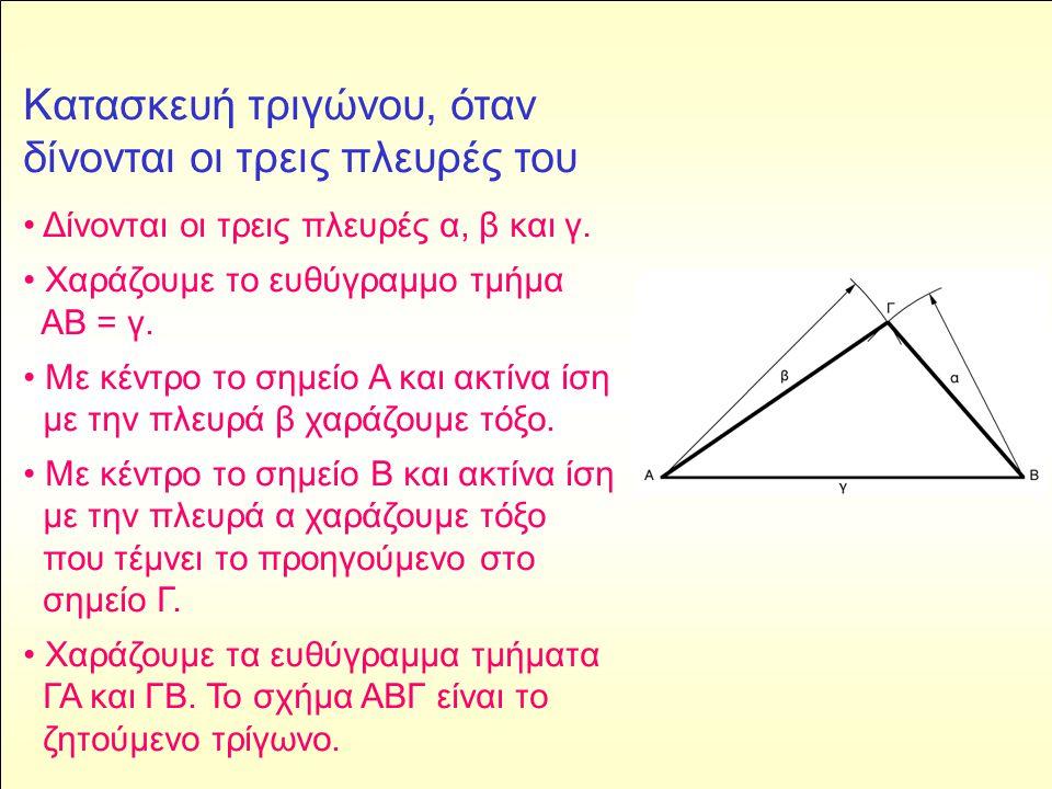 Kατασκευή τραπεζίου, όταν δίνονται τρεις πλευρές ΑΒ, ΒΓ, ΓΔ και η γωνία β • Χαράζουμε ευθύγραμμο τμήμα ίσο με τη δοθείσα πλευρά ΑΒ.