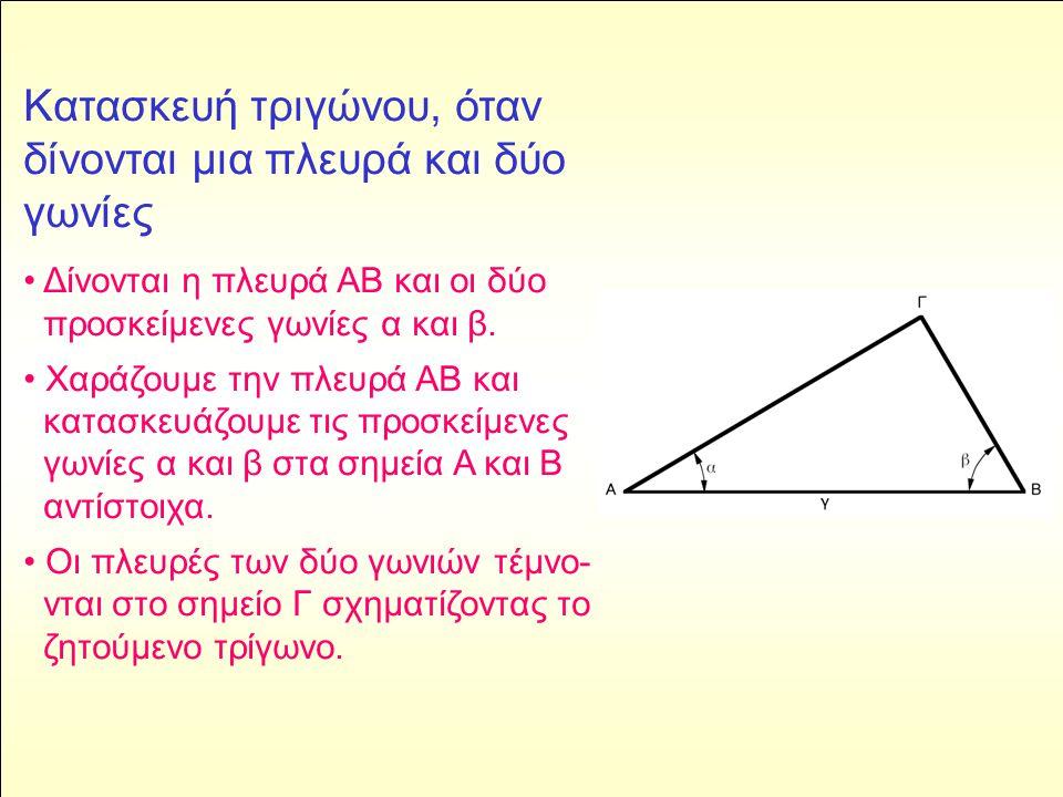 Κατασκευή τριγώνου, όταν δίνονται μια πλευρά και δύο γωνίες • Δίνονται η πλευρά ΑΒ και οι δύο προσκείμενες γωνίες α και β.