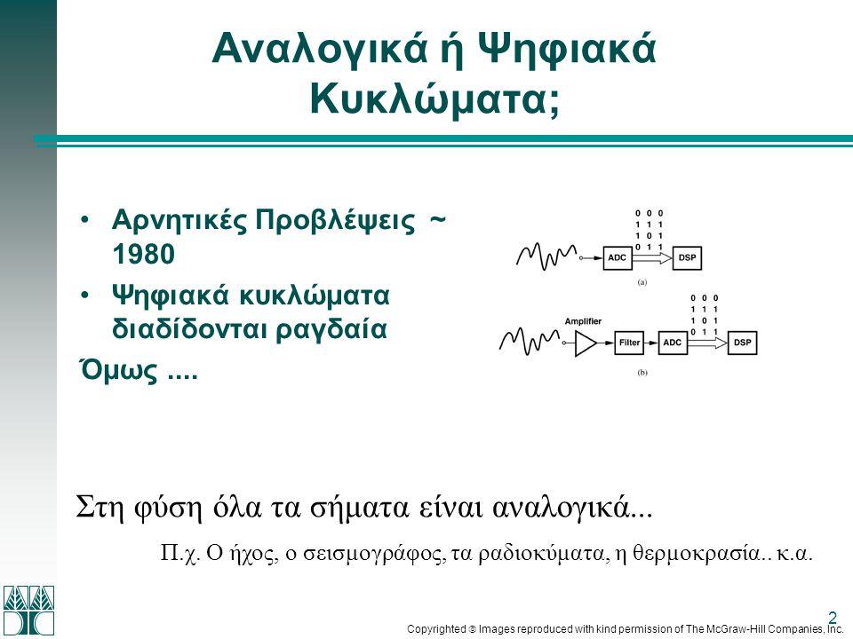 2 Αναλογικά ή Ψηφιακά Κυκλώματα; •Αρνητικές Προβλέψεις ~ 1980 •Ψηφιακά κυκλώματα διαδίδονται ραγδαία Όμως.... Στη φύση όλα τα σήματα είναι αναλογικά..