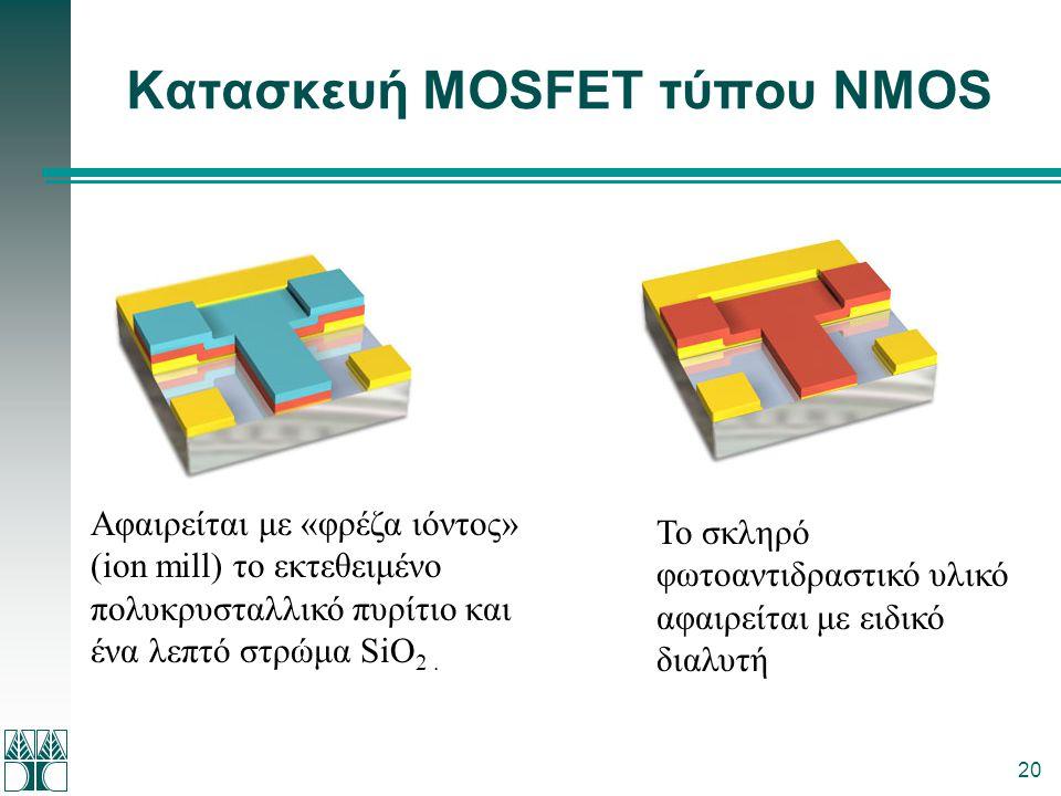 20 Κατασκευή MOSFET τύπου NMOS Αφαιρείται με «φρέζα ιόντος» (ion mill) το εκτεθειμένο πολυκρυσταλλικό πυρίτιο και ένα λεπτό στρώμα SiΟ 2. Το σκληρό φω