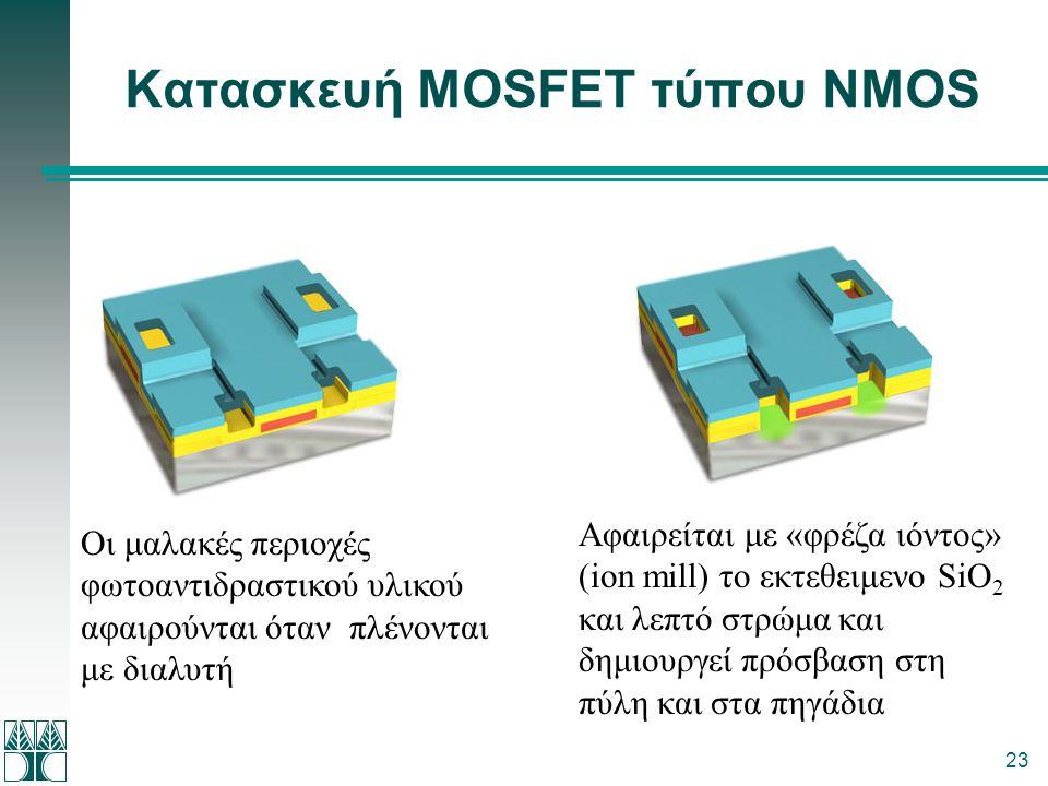 23 Κατασκευή MOSFET τύπου NMOS Οι μαλακές περιοχές φωτοαντιδραστικού υλικού αφαιρούνται όταν πλένονται με διαλυτή Αφαιρείται με «φρέζα ιόντος» (ion mi