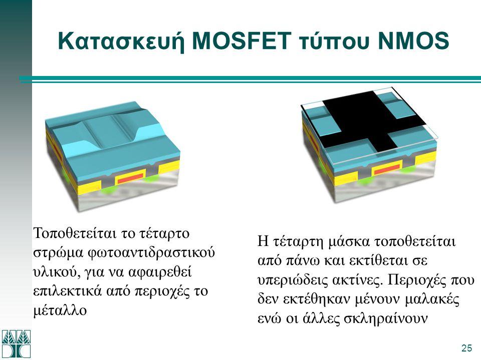 25 Κατασκευή MOSFET τύπου NMOS Τοποθετείται το τέταρτο στρώμα φωτοαντιδραστικού υλικού, για να αφαιρεθεί επιλεκτικά από περιοχές το μέταλλο Η τέταρτη