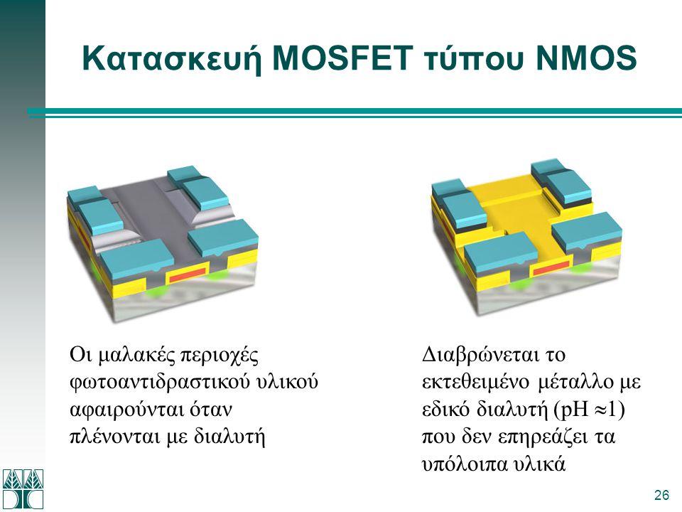 26 Κατασκευή MOSFET τύπου NMOS Οι μαλακές περιοχές φωτοαντιδραστικού υλικού αφαιρούνται όταν πλένονται με διαλυτή Διαβρώνεται το εκτεθειμένο μέταλλο μ