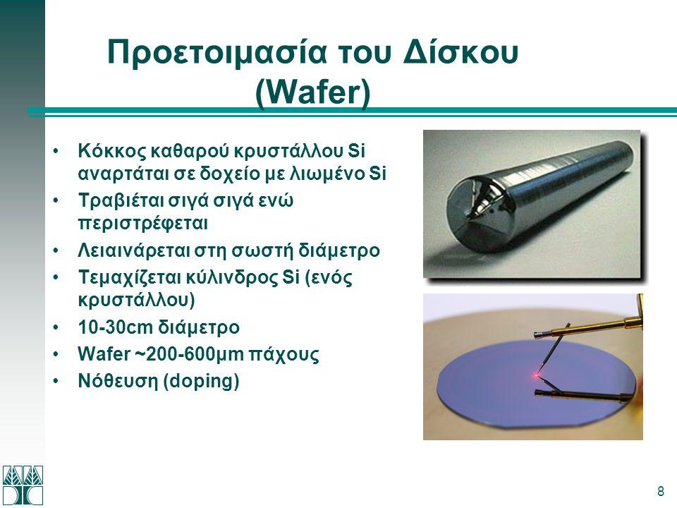 8 Προετοιμασία του Δίσκου (Wafer) •Κόκκος καθαρού κρυστάλλου Si αναρτάται σε δοχείο με λιωμένο Si •Τραβιέται σιγά σιγά ενώ περιστρέφεται •Λειαινάρεται