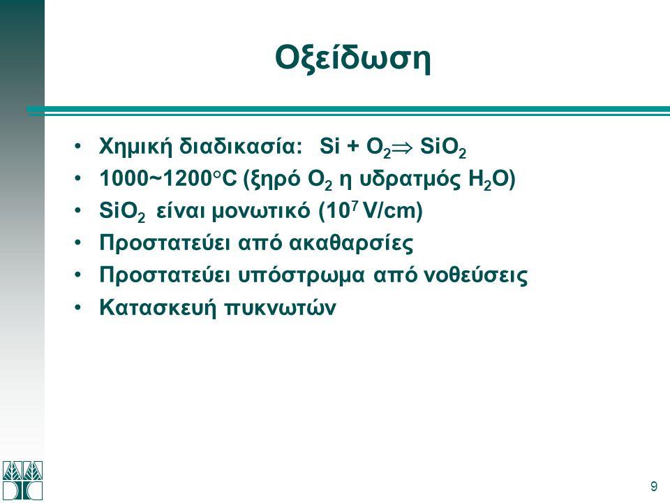 9 Οξείδωση •Χημική διαδικασία: Si + O 2  SiO 2 •1000~1200°C (ξηρό Ο 2 η υδρατμός Η 2 Ο) •SiO 2 είναι μονωτικό (10 7 V/cm) •Προστατεύει από ακαθαρσίες