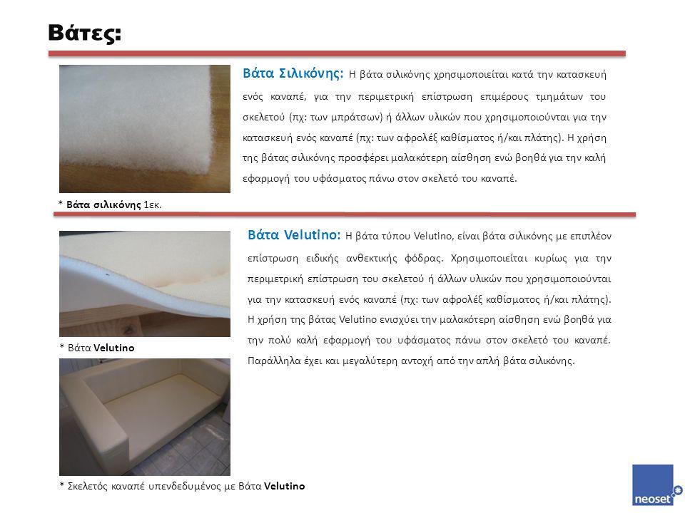 Βάτα Σιλικόνης: Η βάτα σιλικόνης χρησιμοποιείται κατά την κατασκευή ενός καναπέ, για την περιμετρική επίστρωση επιμέρους τμημάτων του σκελετού (πχ: τω