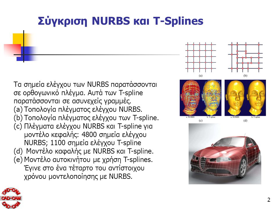 2 Σύγκριση NURBS και T-Splines Τα σημεία ελέγχου των NURBS παρατάσσονται σε ορθογωνικό πλέγμα. Αυτά των T-spline παρατάσσονται σε ασυνεχείς γραμμές. (
