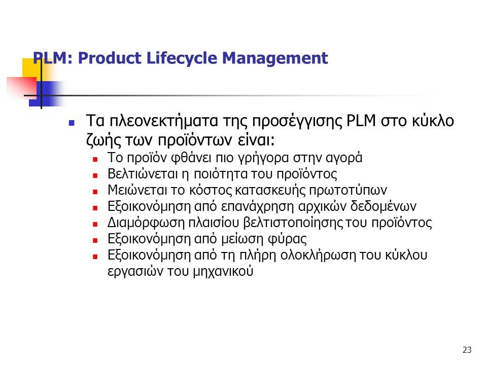 23  Τα πλεονεκτήματα της προσέγγισης PLM στο κύκλο ζωής των προϊόντων είναι:  Το προϊόν φθάνει πιο γρήγορα στην αγορά  Βελτιώνεται η ποιότητα του π