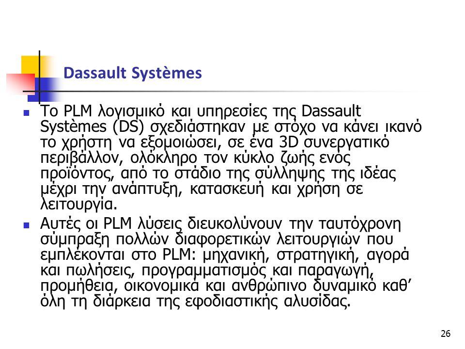 26  Το PLM λογισμικό και υπηρεσίες της Dassault Systèmes (DS) σχεδιάστηκαν με στόχο να κάνει ικανό το χρήστη να εξομοιώσει, σε ένα 3D συνεργατικό περ