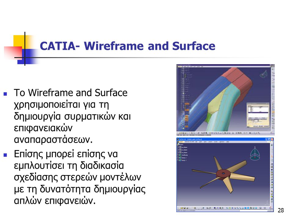 28  To Wireframe and Surface χρησιμοποιείται για τη δημιουργία συρματικών και επιφανειακών αναπαραστάσεων.  Επίσης μπορεί επίσης να εμπλουτίσει τη δ