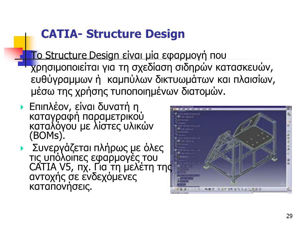 29  Το Structure Design είναι μία εφαρμογή που χρησιμοποιείται για τη σχεδίαση σιδηρών κατασκευών, ευθύγραμμων ή καμπύλων δικτυωμάτων και πλαισίων, μ