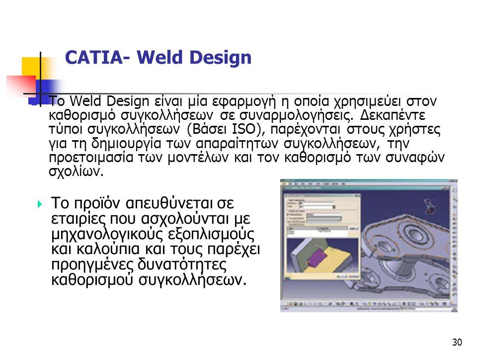 30  Το Weld Design είναι μία εφαρμογή η οποία χρησιμεύει στον καθορισμό συγκολλήσεων σε συναρμολογήσεις. Δεκαπέντε τύποι συγκολλήσεων (Βάσει ISO), πα