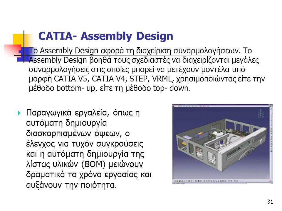 31  Το Assembly Design αφορά τη διαχείριση συναρμολογήσεων. Το Assembly Design βοηθά τους σχεδιαστές να διαχειρίζονται μεγάλες συναρμολογήσεις στις ο