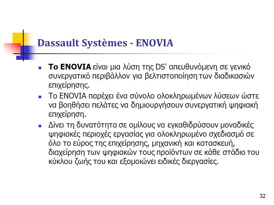 32  Το ENOVIA είναι μια λύση της DS' απευθυνόμενη σε γενικό συνεργατικό περιβάλλον για βελτιστοποίηση των διαδικασιών επιχείρησης.  Το ENOVIA παρέχε