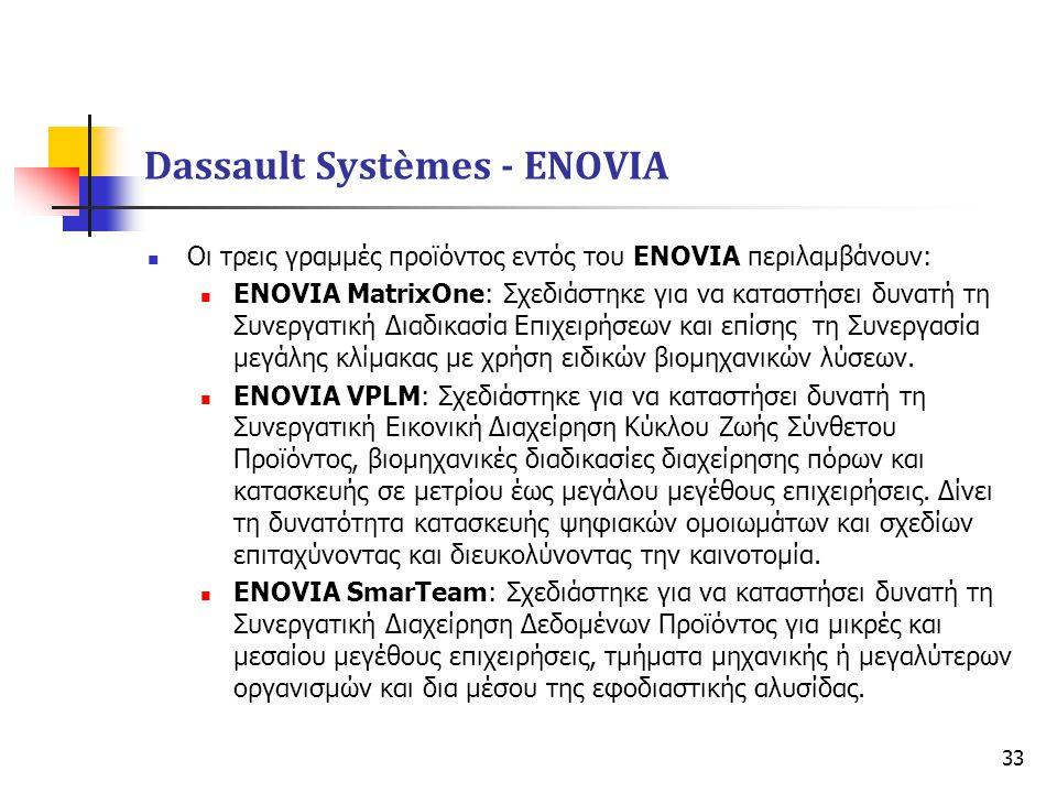 33  Οι τρεις γραμμές προϊόντος εντός του ENOVIA περιλαμβάνουν:  ENOVIA MatrixOne: Σχεδιάστηκε για να καταστήσει δυνατή τη Συνεργατική Διαδικασία Επι