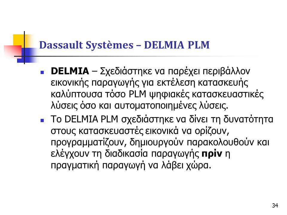 34  DELMIA – Σχεδιάστηκε να παρέχει περιβάλλον εικονικής παραγωγής για εκτέλεση κατασκευής καλύπτουσα τόσο PLM ψηφιακές κατασκευαστικές λύσεις όσο κα
