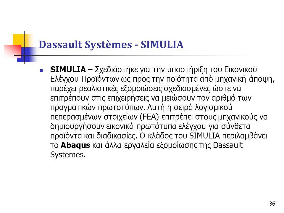 36  SIMULIA – Σχεδιάστηκε για την υποστήριξη του Εικονικού Ελέγχου Προϊόντων ως προς την ποιότητα από μηχανική άποψη, παρέχει ρεαλιστικές εξομοιώσεις