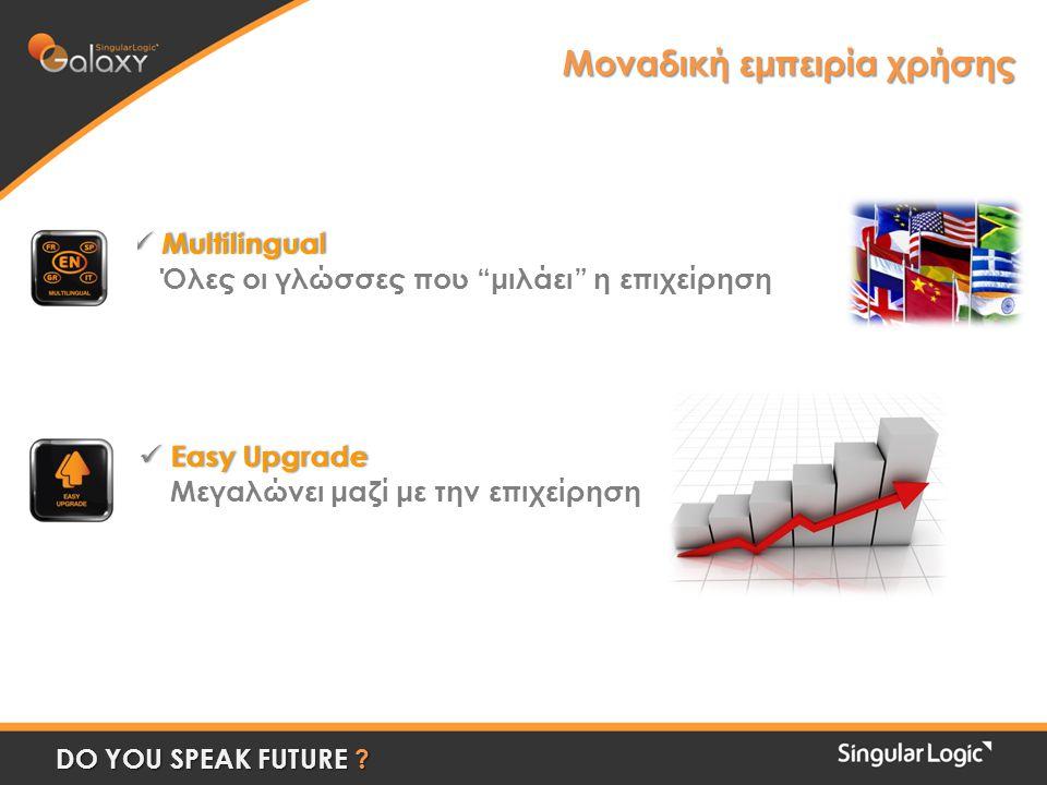  Multilingual Όλες οι γλώσσες που μιλάει η επιχείρηση  Easy Upgrade Μεγαλώνει μαζί με την επιχείρηση Μοναδική εμπειρία χρήσης DO YOU SPEAK FUTURE