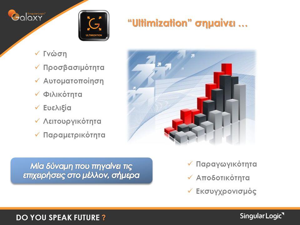 "DO YOU SPEAK FUTURE ? ""Ultimization"" σημαίνει … ""Ultimization"" σημαίνει …  Γνώση  Προσβασιμότητα  Αυτοματοποίηση  Φιλικότητα  Ευελιξία  Λειτουργ"