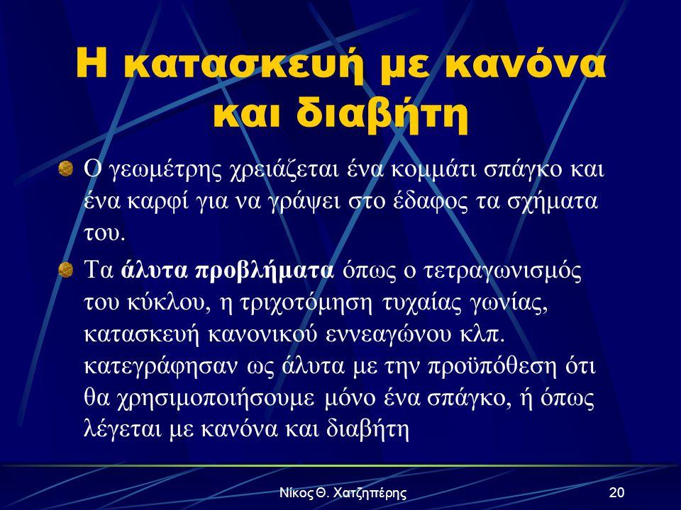 Νίκος Θ. Χατζηπέρης19 Περιεχόμενο Παρουσίασης Η κατασκευή με κανόνα και διαβήτη Το Δήλιο πρόβλημα Λύσεις για την τριχοτόμηση γωνίας Τριχοτόμηση με νεύ