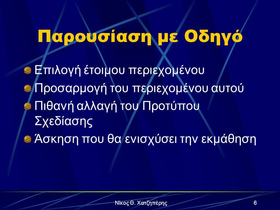 Νίκος Θ. Χατζηπέρης5 Λεξιλόγιο Διαφάνεια Πρότυπο Σχεδίασης Πρότυπο Περιεχομένου Εφέ κίνησης & ήχου Εισαγωγή γραφήματος Εφέ γραφήματος & Video Ταξινόμη