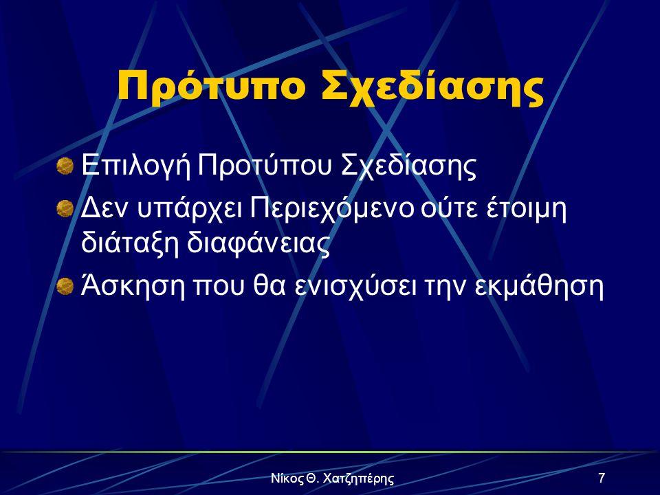 Νίκος Θ. Χατζηπέρης6 Παρουσίαση με Οδηγό Επιλογή έτοιμου περιεχομένου Προσαρμογή του περιεχομένου αυτού Πιθανή αλλαγή του Προτύπου Σχεδίασης Άσκηση πο