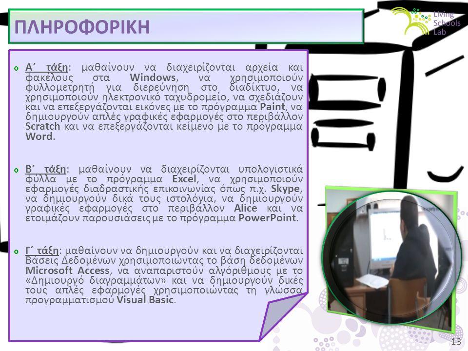 13 ΠΛΗΡΟΦΟΡΙΚΗ  Α΄ τάξη: μαθαίνουν να διαχειρίζονται αρχεία και φακέλους στα Windows, να χρησιμοποιούν φυλλομετρητή για διερεύνηση στο διαδίκτυο, να χρησιμοποιούν ηλεκτρονικό ταχυδρομείο, να σχεδιάζουν και να επεξεργάζονται εικόνες με το πρόγραμμα Paint, να δημιουργούν απλές γραφικές εφαρμογές στο περιβάλλον Scratch και να επεξεργάζονται κείμενο με το πρόγραμμα Word.