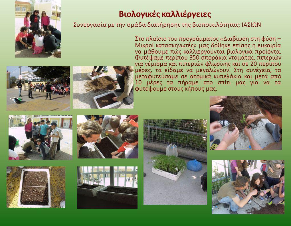 Βιολογικές καλλιέργειες Σ το πλαίσιο του προγράμματος «Διαβίωση στη φύση – Μικροί κατασκηνωτές» μας δόθηκε επίσης η ευκαιρία να μάθουμε πώς καλλιεργού