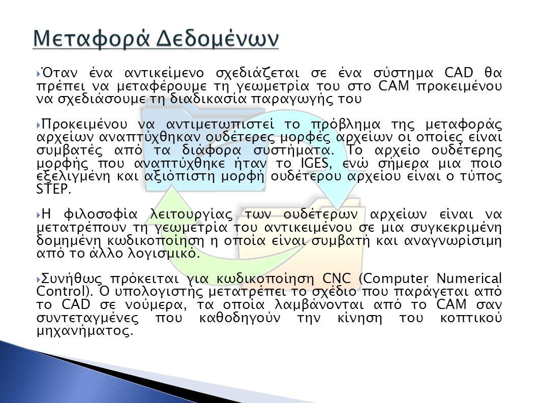  Όταν ένα αντικείμενο σχεδιάζεται σε ένα σύστημα CAD θα πρέπει να μεταφέρουμε τη γεωμετρία του στο CAM προκειμένου να σχεδιάσουμε τη διαδικασία παραγ