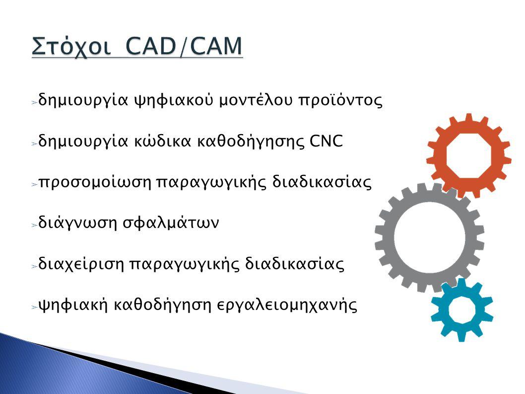 ➢ δημιουργία ψηφιακού μοντέλου προϊόντος ➢ δημιουργία κώδικα καθοδήγησης CNC ➢ προσομοίωση παραγωγικής διαδικασίας ➢ διάγνωση σφαλμάτων ➢ διαχείριση π