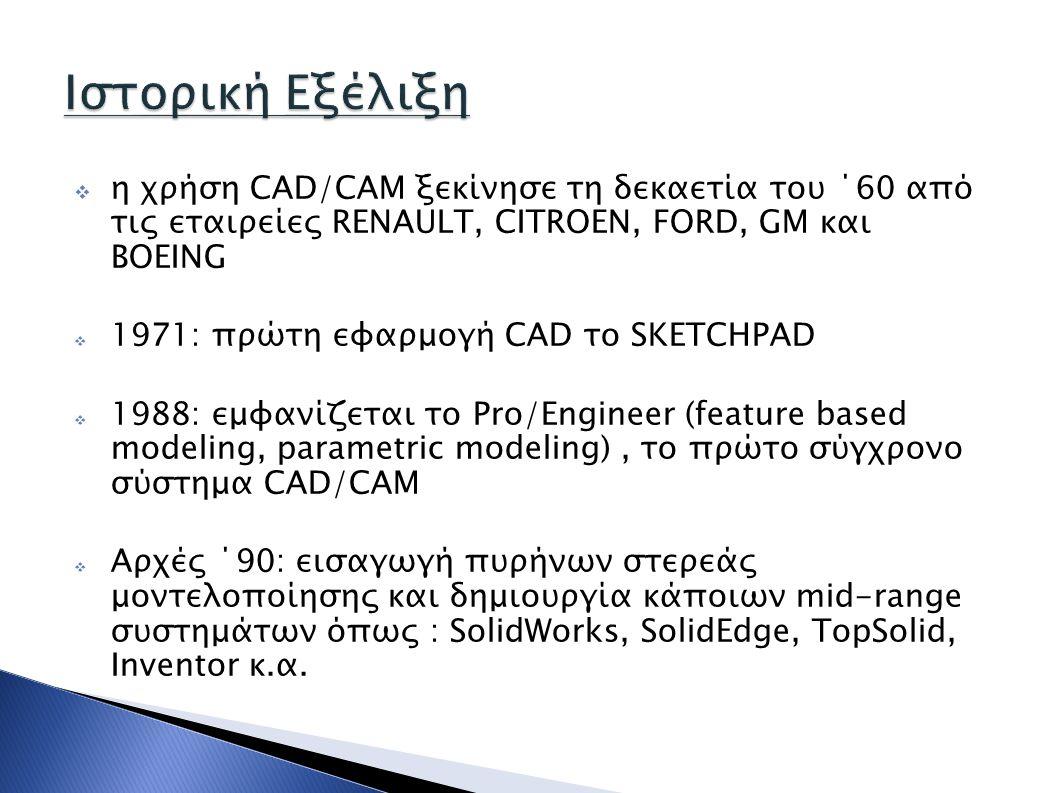  η χρήση CAD/CAM ξεκίνησε τη δεκαετία του ΄60 από τις εταιρείες RENAULT, CITROEN, FORD, GM και BOEING  1971: πρώτη εφαρμογή CAD το SKETCHPAD  1988: