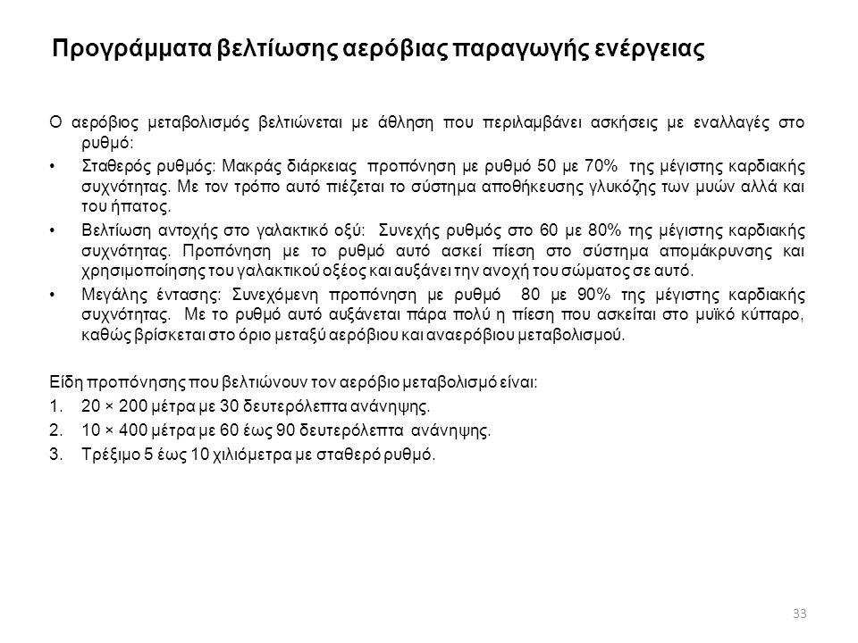 Προγράμματα βελτίωσης αερόβιας παραγωγής ενέργειας Ο αερόβιος μεταβολισμός βελτιώνεται με άθληση που περιλαμβάνει ασκήσεις με εναλλαγές στο ρυθμό: •Στ