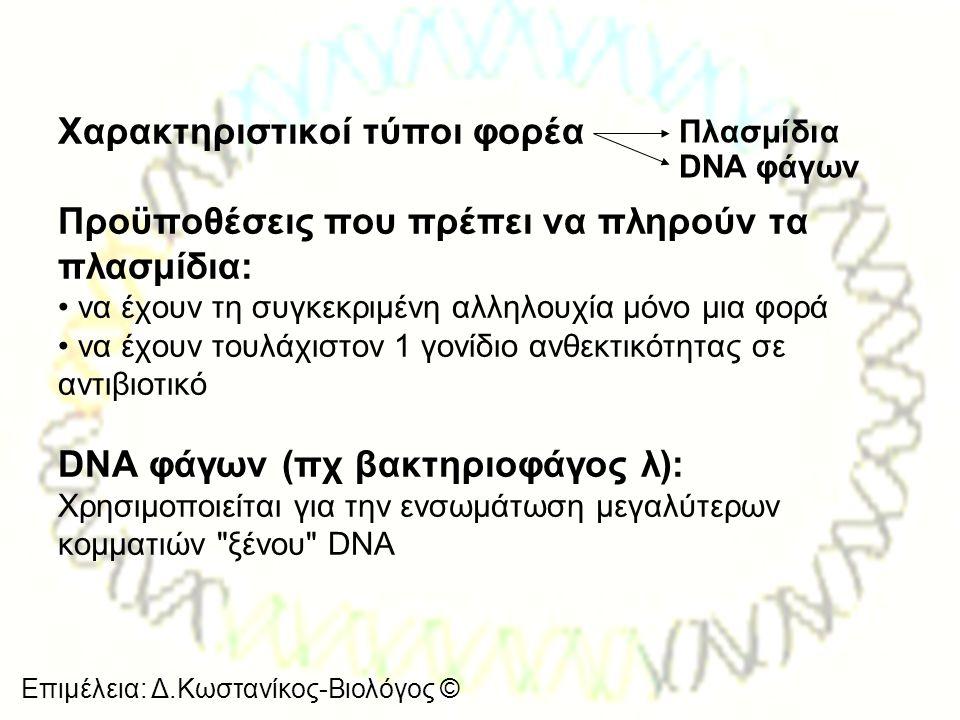 Επιμέλεια: Δ.Κωστανίκος-Βιολόγος © Χαρακτηριστικοί τύποι φορέα Προϋποθέσεις που πρέπει να πληρούν τα πλασμίδια: • να έχουν τη συγκεκριμένη αλληλουχία
