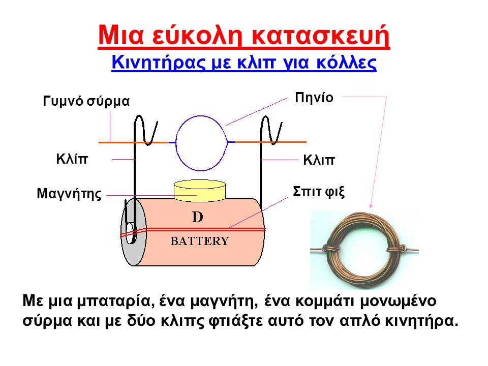 Μια εύκολη κατασκευή Κινητήρας με κλιπ για κόλλες Με μια μπαταρία, ένα μαγνήτη, ένα κομμάτι μονωμένο σύρμα και με δύο κλιπς φτιάξτε αυτό τον απλό κινη