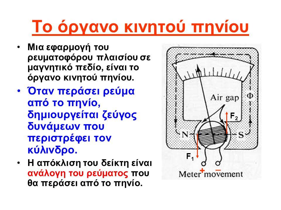 Το όργανο κινητού πηνίου •Μια εφαρμογή του ρευματοφόρου πλαισίου σε μαγνητικό πεδίο, είναι το όργανο κινητού πηνίου. •Όταν περάσει ρεύμα από το πηνίο,