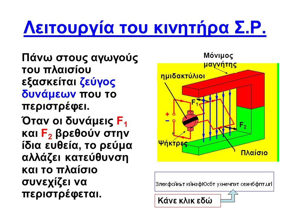 Ο ρόλος των ημιδακτυλίων •Τη στιγμή που το πλαίσιο είναι κάθετο με τις μαγνητικές γραμμές, οι ημιδακτύλιοι αλλάζουν ψήκτρα.