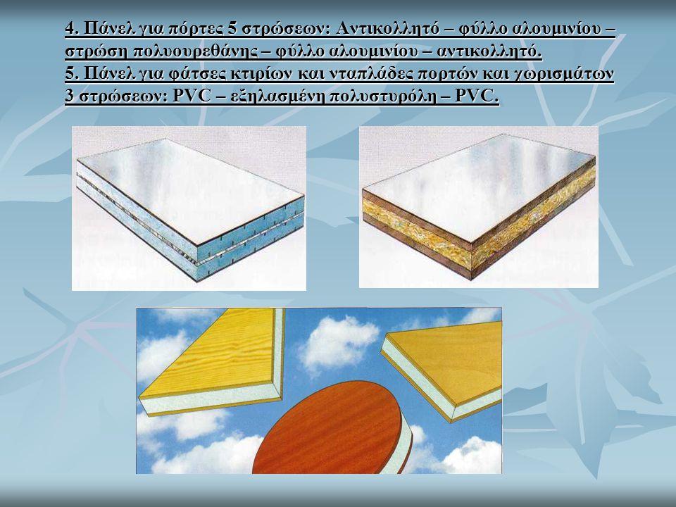 4. Πάνελ για πόρτες 5 στρώσεων: Αντικολλητό – φύλλο αλουμινίου – στρώση πολυουρεθάνης – φύλλο αλουμινίου – αντικολλητό. 5. Πάνελ για φάτσες κτιρίων κα