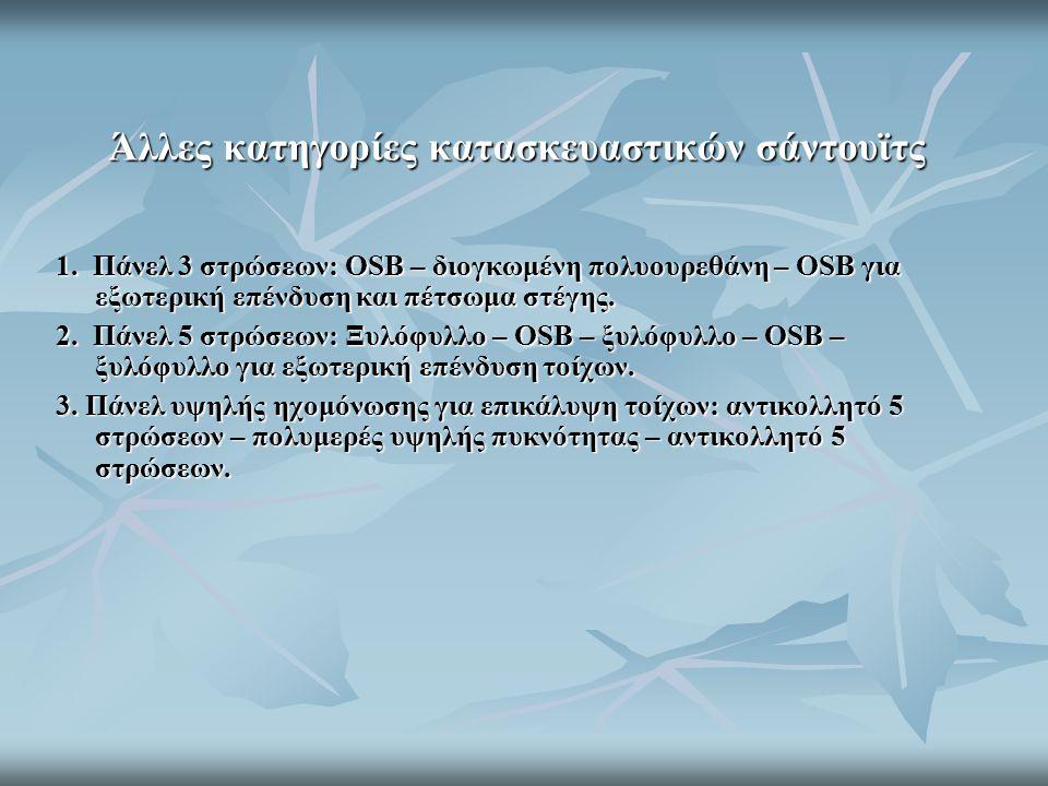 Άλλες κατηγορίες κατασκευαστικών σάντουϊτς 1. Πάνελ 3 στρώσεων: OSB – διογκωμένη πολυουρεθάνη – OSB για εξωτερική επένδυση και πέτσωμα στέγης. 2. Πάνε