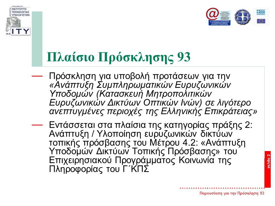 Παρουσίαση για την Πρόσκληση 93 σελίδα 2 Πλαίσιο Πρόσκλησης 93 — Πρόσκληση για υποβολή προτάσεων για την «Ανάπτυξη Συμπληρωματικών Ευρυζωνικών Υποδομών (Κατασκευή Μητροπολιτικών Ευρυζωνικών Δικτύων Οπτικών Ινών) σε λιγότερο ανεπτυγμένες περιοχές της Ελληνικής Επικράτειας» — Εντάσσεται στα πλαίσια της κατηγορίας πράξης 2: Ανάπτυξη / Υλοποίηση ευρυζωνικών δικτύων τοπικής πρόσβασης του Μέτρου 4.2: «Ανάπτυξη Υποδομών Δικτύων Τοπικής Πρόσβασης» του Επιχειρησιακού Προγράμματος Κοινωνία της Πληροφορίας του Γ΄ΚΠΣ