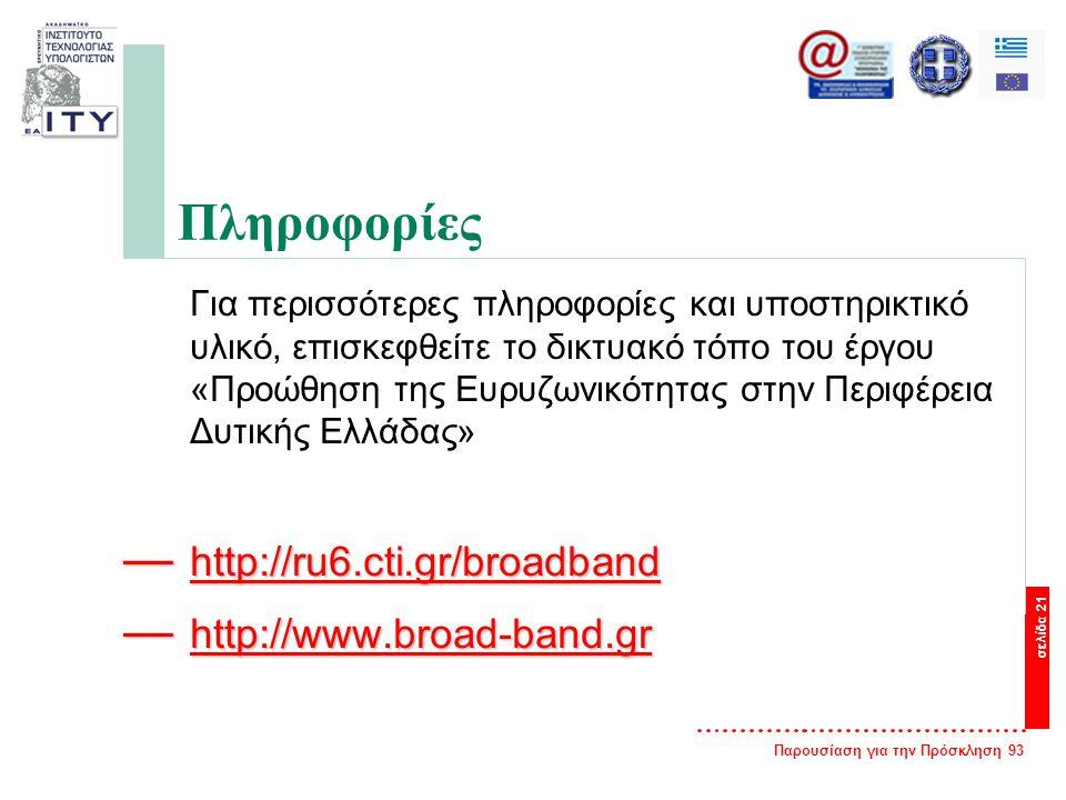 Παρουσίαση για την Πρόσκληση 93 σελίδα 21 Πληροφορίες Για περισσότερες πληροφορίες και υποστηρικτικό υλικό, επισκεφθείτε το δικτυακό τόπο του έργου «Προώθηση της Ευρυζωνικότητας στην Περιφέρεια Δυτικής Ελλάδας» — http://ru6.cti.gr/broadband http://ru6.cti.gr/broadband — http://www.broad-band.gr http://www.broad-band.gr