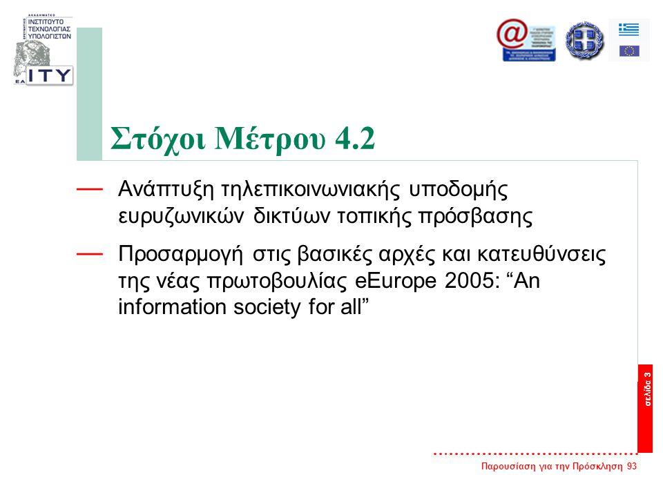 Παρουσίαση για την Πρόσκληση 93 σελίδα 3 Στόχοι Μέτρου 4.2 — Ανάπτυξη τηλεπικοινωνιακής υποδομής ευρυζωνικών δικτύων τοπικής πρόσβασης — Προσαρμογή στις βασικές αρχές και κατευθύνσεις της νέας πρωτοβουλίας eEurope 2005: An information society for all